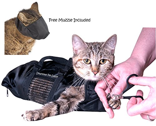 Downtown Pet Supply Cat Grooming Bag - LARGE, cat restraint bag + FREE Cat Muzzle from Downtown Pet Supply