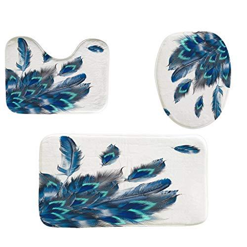 Toilet mats Set Fiaya 3Pcs Sea Sunset Leaves Floral Multicolor Polyester Bathroom Set Rug Contour Mat+Toilet Lid Cover +Plan Solid Color Bath Mats (3PCS, Peacock Feather ()