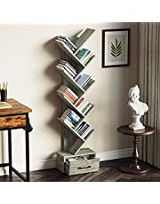 Rolanstar Tree Bookshelf Bookcase with Drawer, Free Standing Tree Bookcase, Display Floor Standing Storage Shelf for Books CDs Plants,Utility Organizer Shelves for Living Room, Bedroom, Home Office
