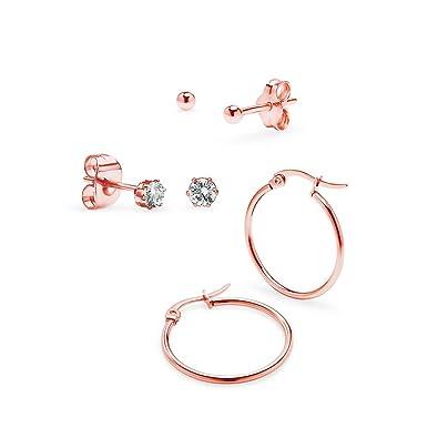 Pair Light Clear Gem Ball Solid Silver Sleepers Hinged Hoop Earrings Uhren & Schmuck