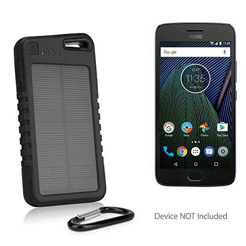 Motorola Moto G5 Battery, BoxWave® [Solar Rejuva PowerPack (5000mAh)] Solar Powered Backup Power Bank for Motorola Moto G5 - Jet Black