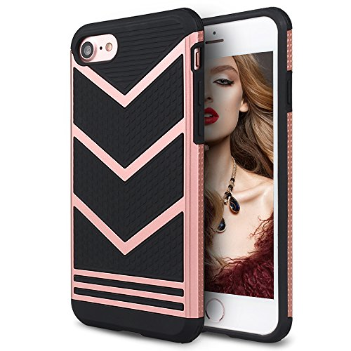 ne 7 Case, Mothca 2 in 1 Classic Sporty [Anti-Slip] Case Rugged Bumper [Shock-Absorption] Case Slim Non-Gap Fit for iPhone 8/7,Compatible with Most Wireless Charger-Rose Gold Black (Cell Phone Sporty Case)