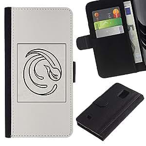 All Phone Most Case / Oferta Especial Cáscara Funda de cuero Monedero Cubierta de proteccion Caso / Wallet Case for Samsung Galaxy Note 4 IV // Abstract Feather Grey Poster Vortex