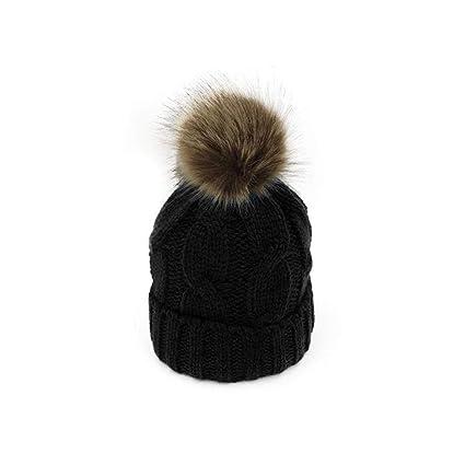 LiféUP Cap Beanie Hat Inverno caldo cavo morbido cappello lavorato a maglia  con staccabile grande pelliccia c96fb6291606