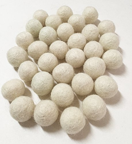 (Yarn Place Felt Balls - 40 Pure Wool Beads 20mm / 0.78inches Mixed Colorful Colors (White))