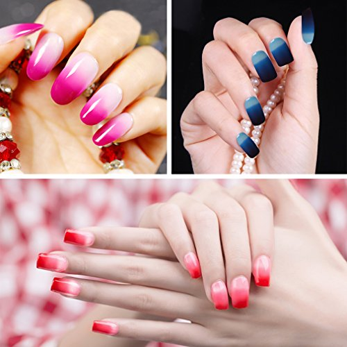 Kit de uñas en gel, Belen 6pcs térmica temperatura cambia de color Gel Nail Polish Soak Off UV LED Nail Lacquer nuevo comienzo Set de regalo Salon Kit: ...