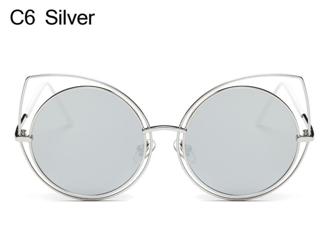 LHWY Femmes chat oreille lunettes de soleil miroir cadre métallique classique (Or, argent)