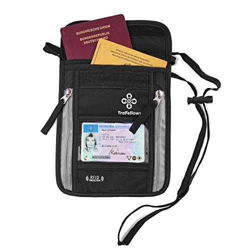 Premium-Brustbeutel mit RFID-Blocker für Damen & Herren   Flache geräumige Brusttasche   Leichte Brustbeuteltasche für maximale Sicherheit für Smartphone & Reise-Dokumente (Schwarz)