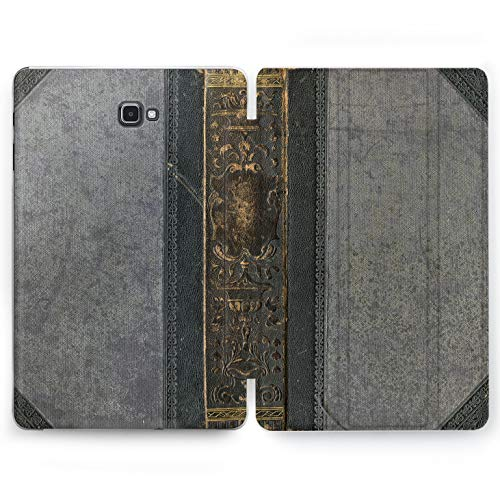 Wonder Wild Retro Book Samsung Galaxy Tab S4 S2 S3 A E Smart Stand Case 2015 2016 2017 2018 Tablet Cover 8 9.6 9.7 10 10.1 10.5 Inch Design Vintage Ancient Old Leather Skin Binding Golden Imprint -