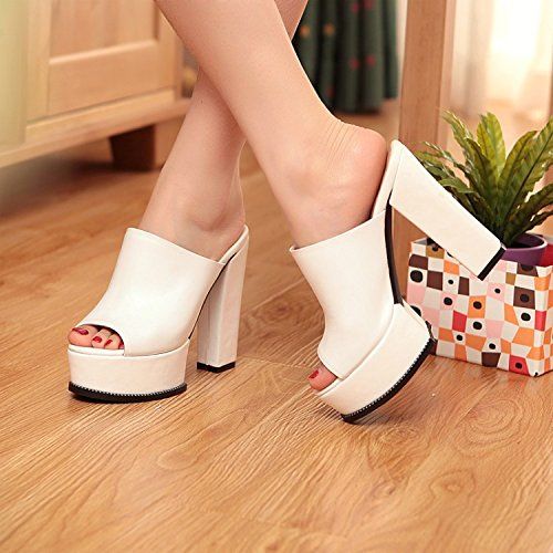 sandals style foot high and slippers mouth fish bold Summer white set with d8zdF