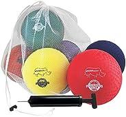 Champion Sports Playground Ball Set: Six Large Rhino Skin Soft Inflatable Balls for Kids Outdoor & Backyar
