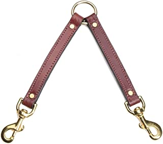 """product image for Mendota Products ME10813 Pet Leather Two Dog Coupler Leash, 3/4"""" x 13"""", Chestnut"""