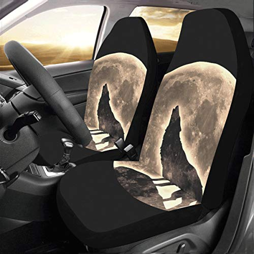 Wild Howling Scared Moon Night Wolf Custom New Universal Fit Auto Drive Car Seat Covers Protector for Women Automobile Jeep Truck SUV Vehicle Full Set Accessories for Adult Baby (Set of 2 Front)