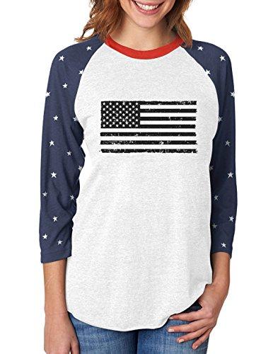 Black American Flag - Vintage 4th of July 3/4 Women Sleeve Baseball Jersey Shirt