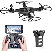 Holy Stone HS110D FPV RC Drone with 720P HD Camera Live Video 120° Wide-angle WiFi Quadcopter with Altitude Hold Headless Mode 3D Flips RTF with 4G TF Card Modular Battery, Color Black