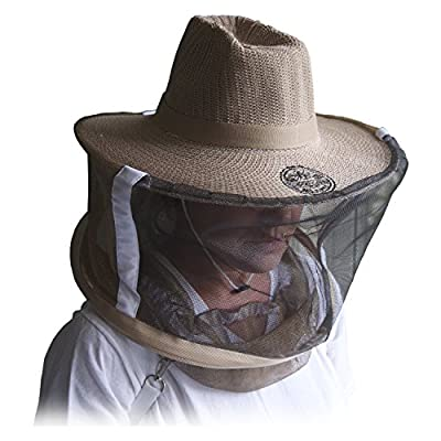 Goodland Bee Supply Natural Cotton Beekeeping Beekeepers Hat Veil for Bee Protection During Beehive Maintenance (Large)