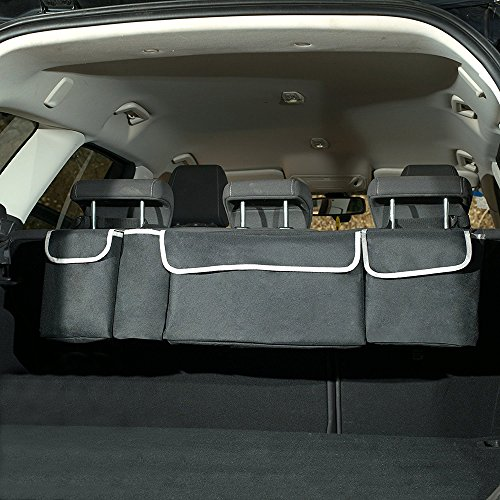HCMAX 2 in 1 Car Backseat Trunk Organizer – 4 Pocket Children Toys Hanging Bag – Long Storage Bag – Auto Interior Cargo Accessories – Multipurpose for SUV Vans Cars Trucks Gray