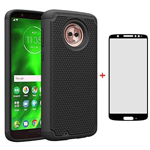 Phone Case for Motorola Moto G6 with Tempered Glass Screen Protector Cover and Cell Accessories Hard Protective Slim Rugged Silicone MotoG6 G 6th Gen 6 6G XT1925DL XT1925 XT1925-6 Moto6 Cases Black from Asuwish