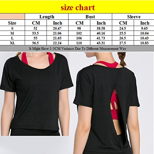 Zhhlaixing Deportes Women's Casual Short Sleeve QuickDry Slim Fit Training Tops Black