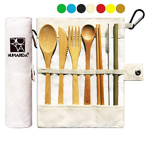 Bamboo Utensils | Eco Friendly Flatware Set | Bamboo Cutlery Set | Bamboo Travel Utensils|Camping Utensils Set | Portable Utensils Set|Knife, Fork, Spoon, Reusable Straws Chopsticks | 7 Pieces,7.9 in ()