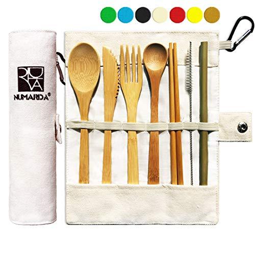 Bamboo Utensils | Eco Friendly Flatware Set | Bamboo Cutlery Set | Bamboo Travel Utensils|Camping Utensils Set | Portable Utensils Set|Knife, Fork, Spoon, Reusable Straws Chopsticks | 7 Pieces,7.9 in