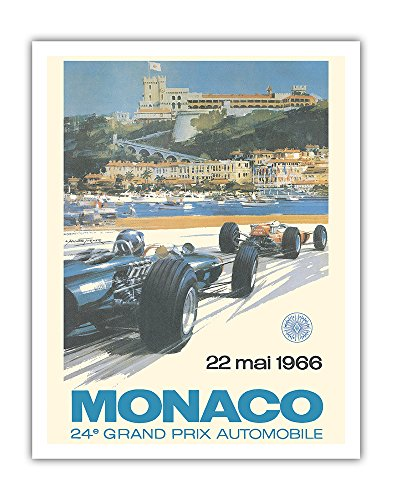 Michael Turner Artwork (Monaco 24e Grand Prix Automobile 1966 (24th Monaco Car Racing GP) - Circuit de Monaco, Monte Carlo - Vintage Advertising Poster by Michael Turner c.1966 - Fine Art Print - 11in x 14in)