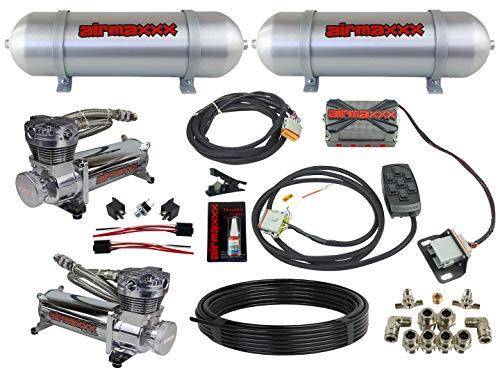 airmaxxx 580 Chrome air compressors, 2 Brushed Aluminum 3 Gallon Tanks, X4 Valve Manifold & 7 Switch Box