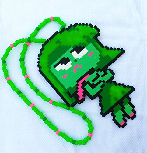 Huge Inside Out Disgust Perler Necklace PLUR Necklace Festival Trading Kandi Necklace