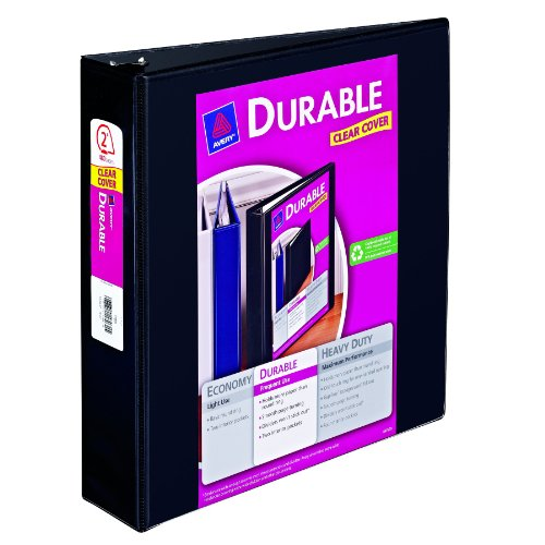Avery Durable View Binder with 2-Inch Slant Ring, Holds 8.5 Inch x 11-Inch Paper, Black, 1 Binder - View Avery Durable Binders Reference