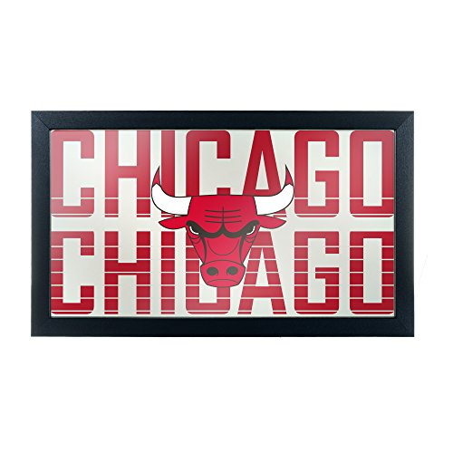 Trademark Gameroom NBA1500-CB3 NBA Framed Logo Mirror - City - Chicago Bulls