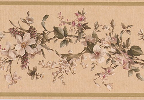White Flowers on Vine Beige Floral Wallpaper Border Retro Design, Roll 15' x 7''