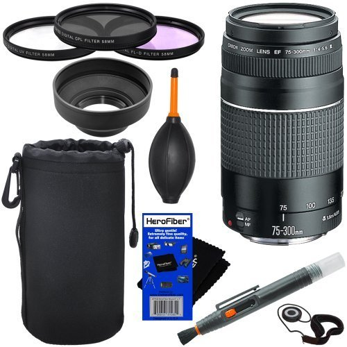 Canon EF 75-300mm f/4-5.6 III Telephoto Zoom Lens for Canon EOS series of Digital SLR Cameras + 10pc (Canon Digital Rebel Xti Lens)