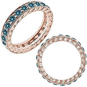 0.75 Carat Blue Diamond Beaded Eternity Bridal Women Promise Wedding Band Ring 14K Rose Gold