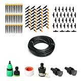 Water and Mist Irrigation System 20M Long Plant Watering Drip Garden Patio Landscape Greenhouse Hose Watering Kits Water Misting Cooling System Sprinkler Nozzle Micro Irrigation Kit Accessories