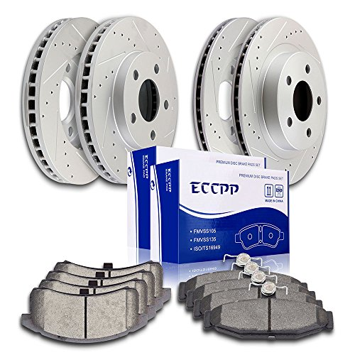 (ECCPP Slotted Drilled Rotors and Ceramic Disc Brake Pads Combo Brake Kit for 1994 1995 1996 1997 Chevrolet Camaro 1995 1996 1997 Pontiac Firebird,Front+Rear)