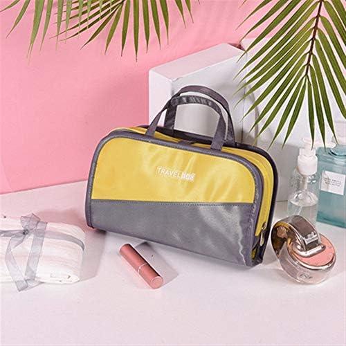 ZEZHE カラーマッチングの化粧品袋ポータブル防水ウォッシュバッグ旅行用品の収納袋 (Color : Gray)