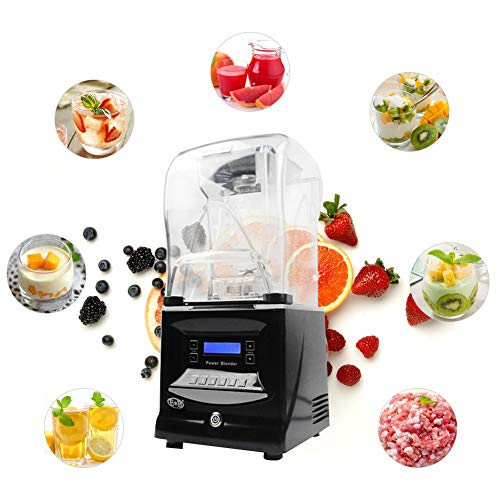 (CARIHOME Countertop Blender Grinder And Food Chopper With Stainless Steel Blades + Digital Display, Sound Insulation For Coffee Drinks, Frozen Cocktails, Smoothies, Soup, Fondue & More)