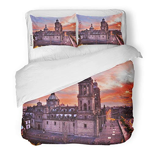 Emvency Decor Duvet Cover Set Twin Size Metropolitan Cathedral and President's Palace in Zocalo Center of Mexico City 3 Piece Brushed Microfiber Fabric Print Bedding Set Cover]()