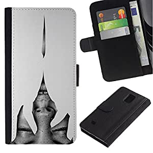 Billetera de Cuero Caso Titular de la tarjeta Carcasa Funda para Samsung Galaxy Note 4 SM-N910 / Heartbreak Grey Woman Eyes / STRONG