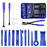 MICTUNING 19Pcs Auto Audio Trim Removal Tool Set & Clip Plier Upholstery Fastener Remover Nylon Dash Door Panel Stereo Tool Kits (Blue)