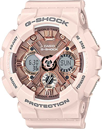 Casio Women's G Shock Stainless Steel Quartz Watch with Resin Strap, Pink, 29 (Model: GMA-S120MF-4ACR) (G Shock Rose Gold & Black Collection)