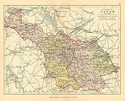Map Of Ireland Cavan.Amazon Com County Cavan Antique County Map Ulster Ireland