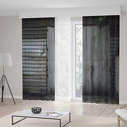 TecBillion Blackout Curtains,Industrial Decor,Living Room Bedroom Window Drapes,Obsolete Zinc Plated Steel Door Padlock Locked Gate Warehouse Print Decorative,196Wx83L Inches
