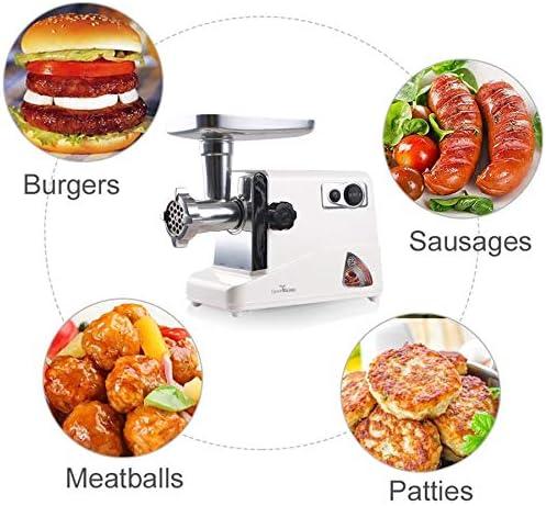 Electric Eten Vlees Grinder, multifunctionele vleesmolen Worst Stuffer met worst Tube, Kubbe Maker, 3 RVS Maten Plates