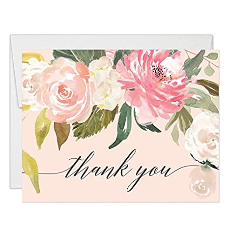 pastel pink peonies thank you cards with envelopes pack of 50 blank folded thank