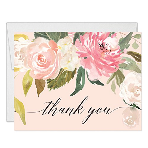 (Pastel Pink Peonies Thank You Cards with Envelopes (Pack of 25) Blank Folded Thank You Notecards Baby Bridal Shower Gift Birthday Engagement Wedding Thank You Gracias Notes Excellent Value VT0039B)