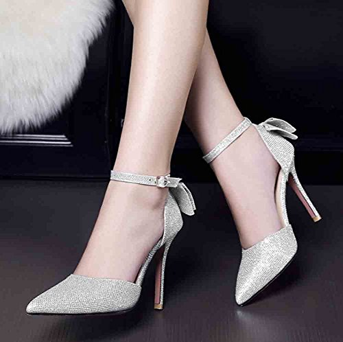 Aisun Women's Bows Studded Rhinestones Ankle Buckle Straps Pointed Toe High Stiletto Heel Sandals Silver zfa7hII3uT
