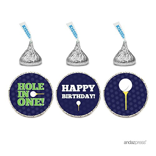 Andaz Press Birthday Chocolate Drop Labels Trio, Fits Hershey's Kisses Party Favors, Golf Hole in One, 216-Pack