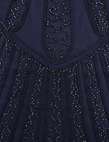 Dentelle Frange Rétro Des Années 1920 Inspiré Art Déco Perles Femmes Kayamiya Robe Garçonne Noble Bleu