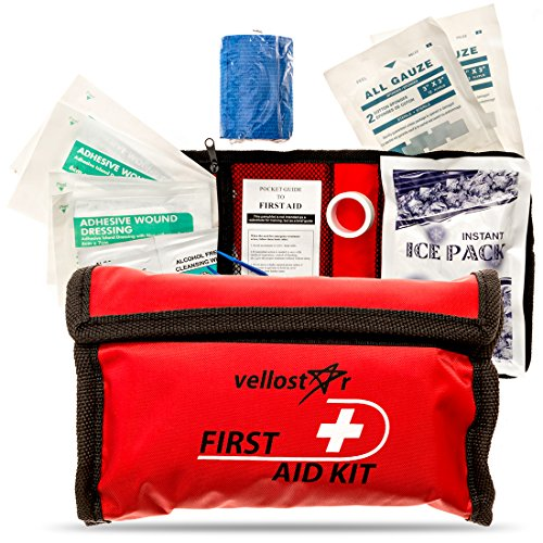 First AID KIT - Stay Safe with This Survival & Medical Essentials for Emergency Situations at Home, Office, Car, Hiking, Hunting, Camping, Travel & Schools Trips   Small & Convenient Mini Aid Kits by VelloStar
